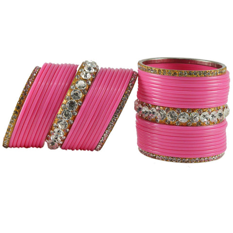 Pink Color  Acrylic-Brass  Stone Stud  Bangle - ban1719