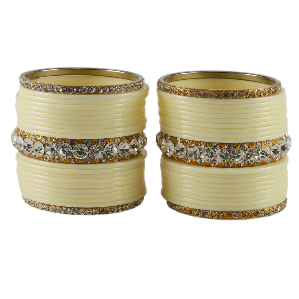 White Color  Acrylic-Brass  Stone Stud  Bangle - ban1720