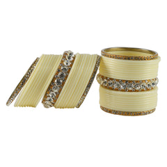 Buy White Color  Acrylic-Brass  Stone Stud Bangle