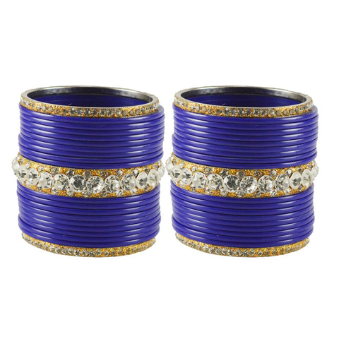 Blue Color  Acrylic-Brass  Stone Stud  Bangle - ban1723
