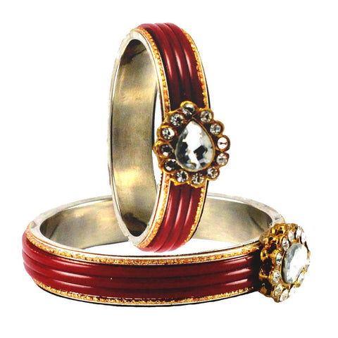 Red Color  Acrylic-Brass  Stone Stud  Bangle - ban1749