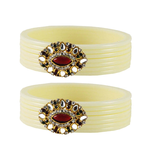 White Color  Acrylic-Brass  Stone Stud  Bangle - ban1766