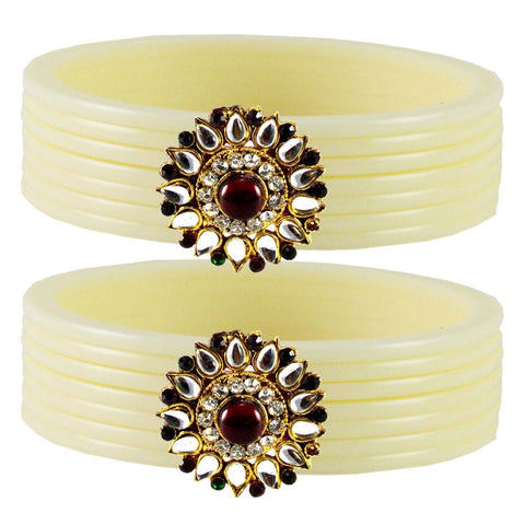 White Color  Acrylic-Brass  Stone Stud  Bangle - ban1768