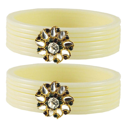 White Color  Acrylic-Brass  Stone Stud  Bangle - ban1769