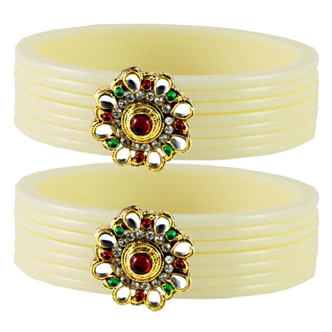 White Color  Acrylic-Brass  Stone Stud  Bangle - ban1770