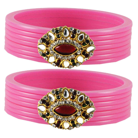 Pink Color  Acrylic-Brass  Stone Stud  Bangle - ban1781