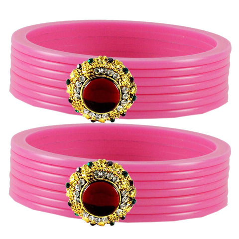 Pink Color  Acrylic-Brass  Stone Stud  Bangle - ban1782