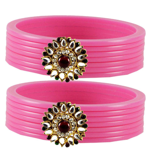 Pink Color  Acrylic-Brass  Stone Stud  Bangle - ban1783