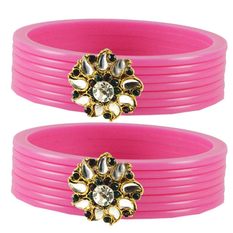 Pink Color  Acrylic-Brass  Stone Stud  Bangle - ban1784