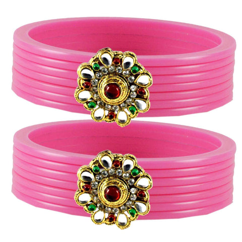Pink Color  Acrylic-Brass  Stone Stud  Bangle - ban1785