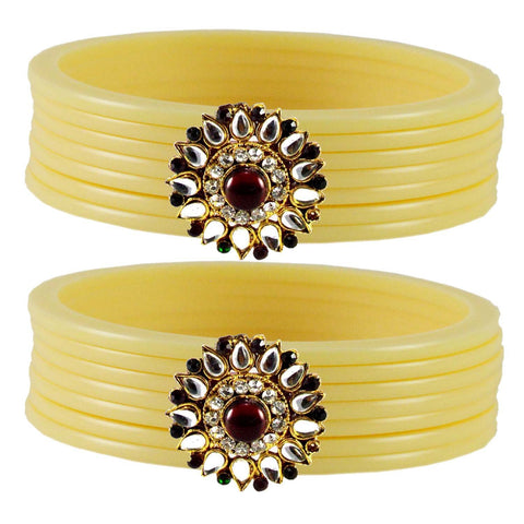 Cream Color  Acrylic-Brass  Stone Stud  Bangle - ban1803