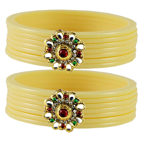 Cream Color  Acrylic-Brass  Stone Stud  Bangle - ban1805