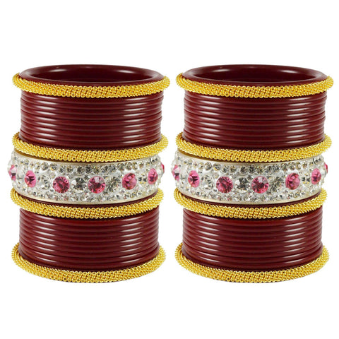 Maroon Color  Acrylic  Stone Stud  Bangle - ban1856