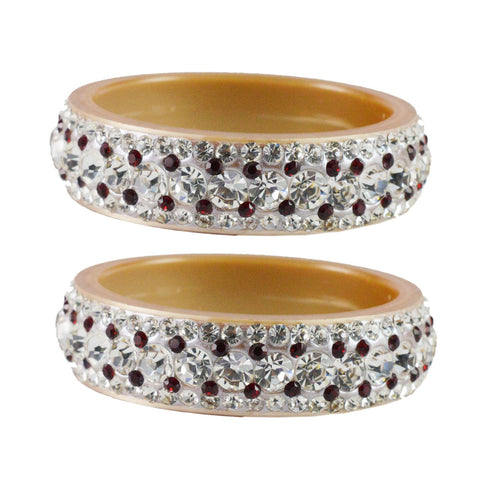Cream Color  Acrylic  Stone Stud  Bangle - ban1857
