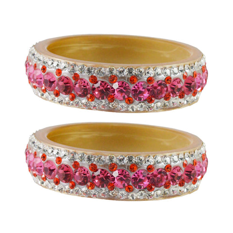 Cream Color  Acrylic  Stone Stud  Bangle - ban1858