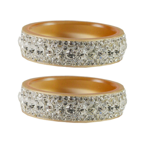 Cream Color  Acrylic  Stone Stud  Bangle - ban1860