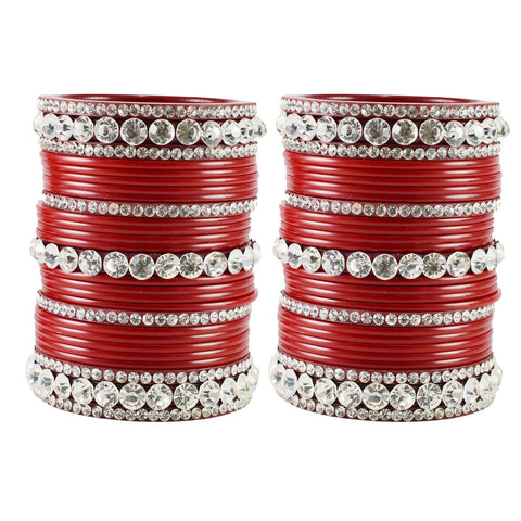 Red Color  Acrylic  Stone Stud  Bangle - ban1881