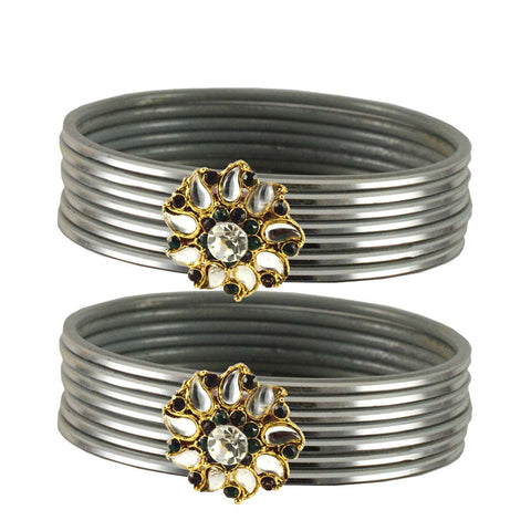 Silver Color Brass Stone Stud Bangle - ban1927