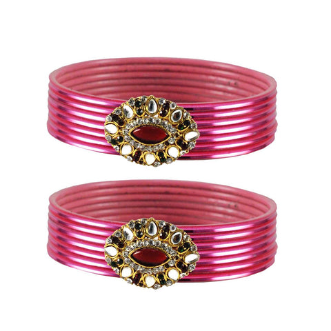 Pink Color Brass Stone Stud Bangle - ban1944