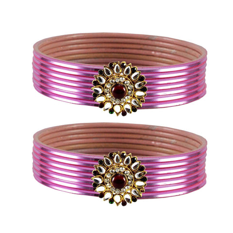 Light Pink Color Brass Stone Stud Bangle - ban1966