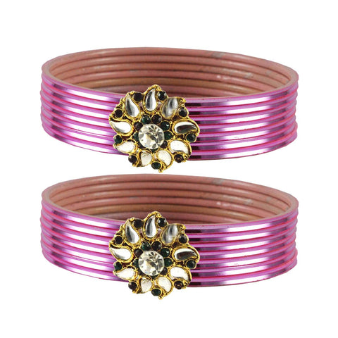 Light Pink Color Brass Stone Stud Bangle - ban1967