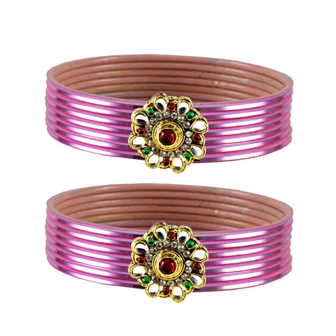 Light Pink Color Brass Stone Stud Bangle - ban1968