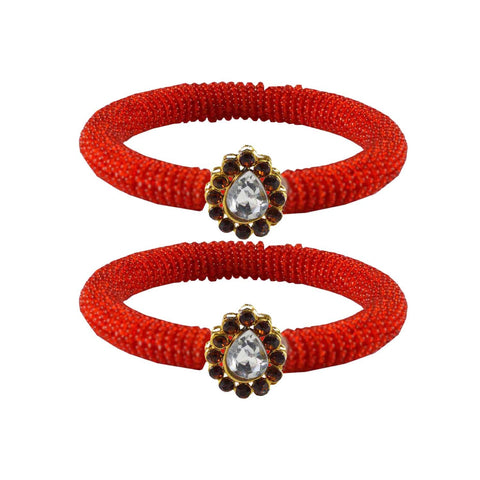 Red Color Brass Stone Stud Bangle - ban2117