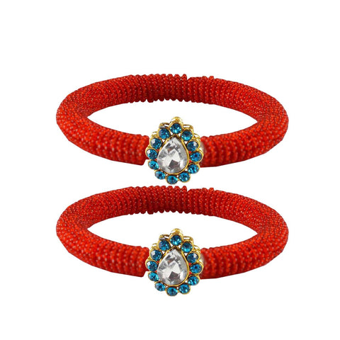 Red Color Brass Stone Stud Bangle - ban2118