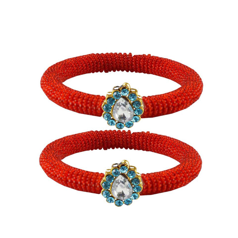 Red Color Brass Stone Stud Bangle - ban2119