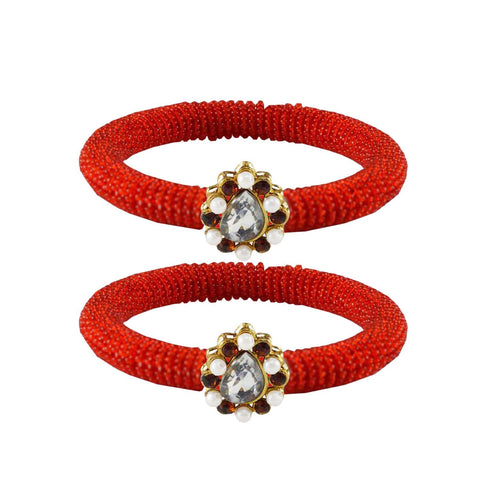 Red Color Brass Stone Stud Bangle - ban2120