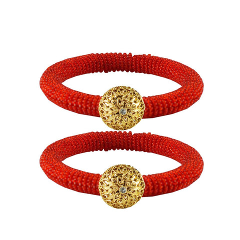 Red Color Brass Stone Stud Bangle - ban2122