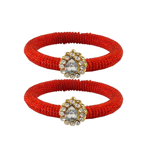 Red Color Brass Stone Stud Bangle - ban2123