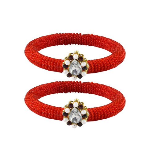 Red Color Brass Stone Stud Bangle - ban2124