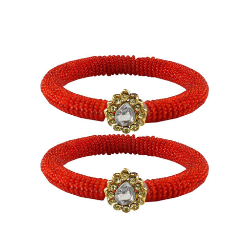 Red Color Brass Stone Stud Bangle - ban2125