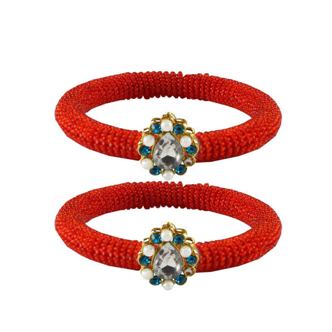 Red Color Brass Stone Stud Bangle - ban2126
