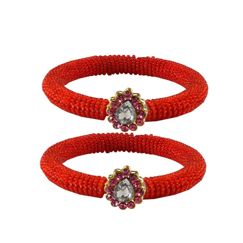 Red Color Brass Stone Stud Bangle - ban2127