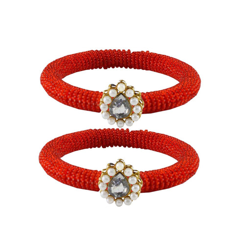 Red Color Brass Stone Stud Bangle - ban2128