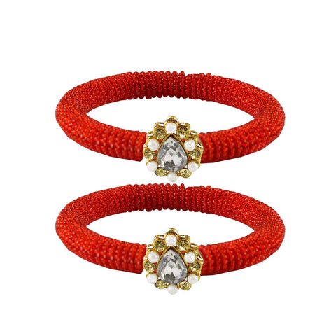 Red Color Brass Stone Stud Bangle - ban2129
