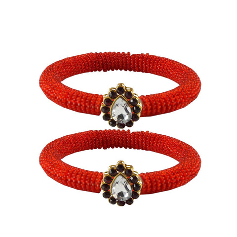 Red Color Brass Stone Stud Bangle - ban2130