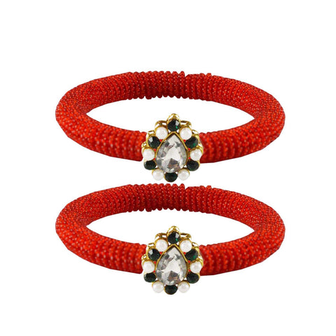 Red Color Brass Stone Stud Bangle - ban2131