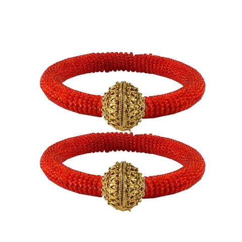 Red Color Brass Plain Bangle - ban2132