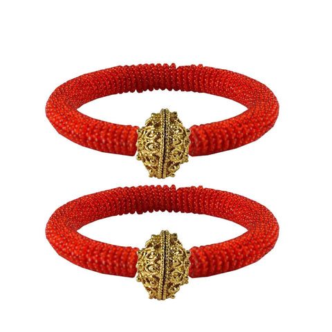 Red Color Brass Plain Bangle - ban2133