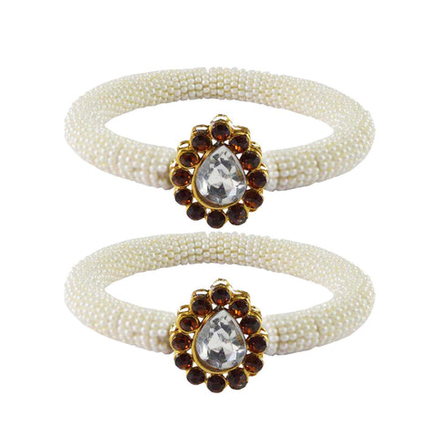 White Color Brass Stone Stud Bangle - ban2151