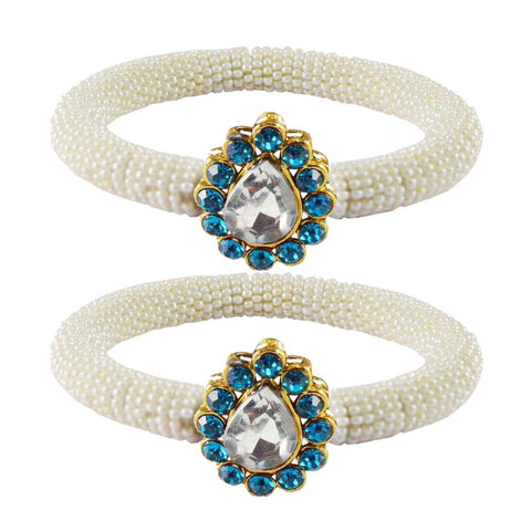 White Color Brass Stone Stud Bangle - ban2152