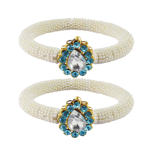White Color Brass Stone Stud Bangle - ban2153