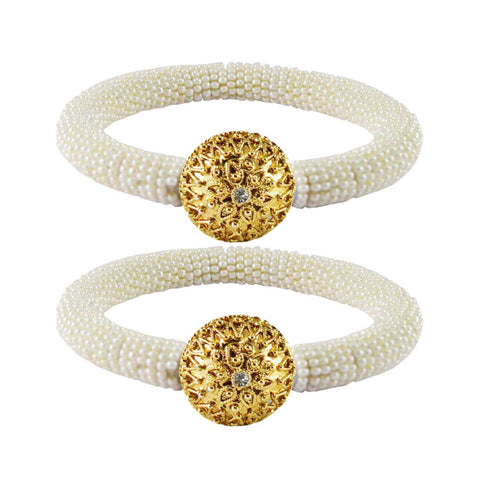 White Color Brass Stone Stud Bangle - ban2154