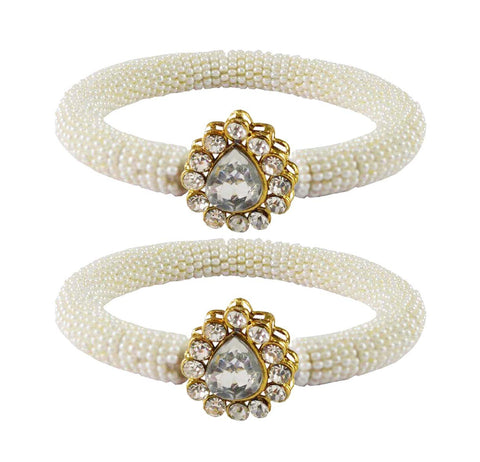 White Color Brass Stone Stud Bangle - ban2155