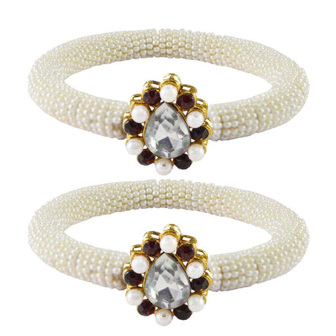 White Color Brass Stone Stud Bangle - ban2156
