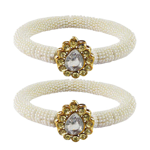 White Color Brass Stone Stud Bangle - ban2157
