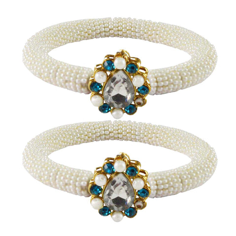 White Color Brass Stone Stud Bangle - ban2158